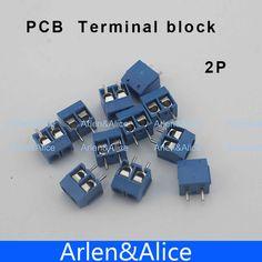 100 개 2 핀 나사 블루 PCB 터미널 블록 커넥터 5 미리메터 피치