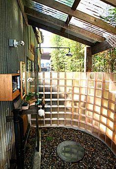 Outdoor Shower with Vanity.  Super Idea!