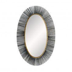Arteriors Home Perseus Black 24 x Oval Wall Mirror - Luxury Chandelier, Luxury Lighting, Resource Furniture, Mitchell Gold, Light Crafts, Metal, Modern Mirrors, Powder Room, Western Springs