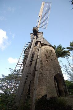 Moulin a vent Distrillerie Damoiseau Tilting At Windmills, What A Beautiful World, House Beautiful, Marie Galante, Union Territory, Caribbean Art, France, Le Moulin, Covered Bridges