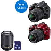 Your Choice: Nikon D3200 Digital SLR Camera with 18-55mm Lens, Nikkor 55-200mm Zoom Lens Value Bundle with 16GB SD Card