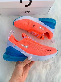 Swarovski Nike Air Max 270 Shoes Blinged Out With Swarovski Crystals Bling Nike Shoes Orange - crystals - Schuhe Damen Bling Nike Shoes, Women's Shoes, Shoes Style, Platform Shoes, Neon Nike Shoes, Neon Nikes, Louboutin Shoes, Christian Louboutin, Cute Sneakers