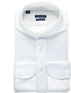 This white long sleeve polo shirt is the perfect casual substitute for the traditional button-ups. Cut from cotton two-ply, this slim fit shirt features a single cuff and extreme cutaway collar. Throw it under any fitted jacket for a unique fall look.