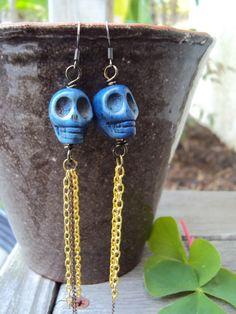 Skull Jewelry Earrings Blue Indigo Mixed Metal by IvysBoutique, $16.00
