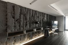 Probably the most striking apartment in Taipei, the Luzhou Penthouse was design by Wei YI Design Associates and features three amazing floors. Interior Exterior, Interior Walls, Contemporary Interior, Living Room Interior, Interior Architecture, Interior Design, Stone Cladding, Wall Cladding, Stone Wall Design