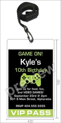 Video Game VIP Pass Invitation with Lanyard - Select Color   Throwing a video game themed party