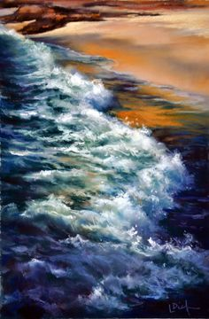 Sunset Wave kalbarri - Pastel by Lyn Diefenbach Soft Pastel Art, Pastel Drawing, Different Kinds Of Art, Beauty In Art, Chalk Art, Oil Paintings, Drawing Ideas, Sunsets, Nautical
