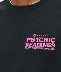 Add some trippy style to your daily fits with the Empyre World Readings black t-shirt. With bold pink logo script highlighting the left chest and a large screen-printed graphic on the back of two hands taking a psychic reading from planet earth, this tee Shirt Logo Design, Tee Shirt Designs, Tee Design, Mises En Page Design Graphique, Cool Shirts, Tee Shirts, Eccentric Style, E Commerce, Apparel Design