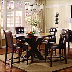 @Overstock - Includes a Hudson dining table and six Hudson counter stool chairs Dining set table top features sunburst veneer pattern Furniture boasts easy assembly, with the required tools includedhttp://www.overstock.com/Home-Garden/7-piece-Round-X-Base-Counter-Dining-Set/3428411/product.html?CID=214117 $1,482.99