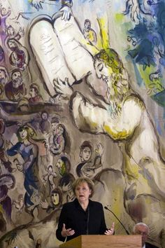 Germany's Chancellor Angela Merkel speaks in the Chagall state hall ahead of a special session of the Israeli parliament, or Knesset, in Jerusalem, on March German Chancellor Angela Merkel. Get premium, high resolution news photos at Getty Images Marc Chagall, Jewish History, Jewish Art, Chagall Paintings, Israel Today, Fauvism, Les Oeuvres, Printmaking, Germany