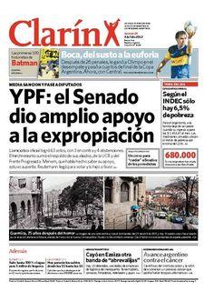 YPF: el Senado dio amplio apoyo a la expropiación. Más información: http://www.clarin.com/edicion-impresa/