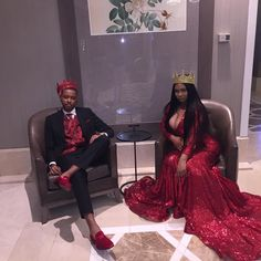 Match red dress to a red vest and shoes Black Girl Prom Dresses, Sweet 16 Dresses, Black Prom, Elegant Dresses, Wedding Attire, Wedding Dresses, Prom Goals, Prom Couples, Snapchat
