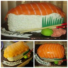 Sushi Cake made by CG Sushi Cake, How To Make Cake, Sweet Treats, Ethnic Recipes, Creative, Food, Meal, Candy Notes, Essen