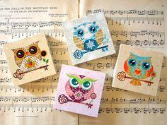 Paper Owls Series Wood Art Blocks Set of 4  Made by sandragrafik, $35.00