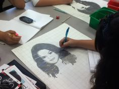Lamar Louise Curry Middle  one of my students working on a portrait.  Art Appreciation: Art 2 working
