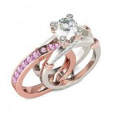#Jeulia - #Jeulia Two Tone Interchangeable Round Cut Created White Sapphire With Pink Sidestone Wedding Set - AdoreWe.com