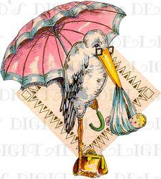 Super Duper STORK! Vintage Card for BIRTH Announcement, Shower or Invites.  Vintage Illustration. Printable Stork Digital Download.