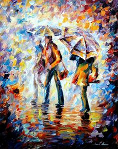 "NIGHT RAIN — PALETTE KNIFE Oil Painting On Canvas By Leonid Afremov - Size 24""x30"""