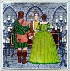 Outlander coloring book Outlander Clothing, Colouring, Coloring Books, Caitriona Balfe Outlander, Drums Of Autumn, Outlander Tv Series, Prismacolor, Clothing Patterns, Illustrations