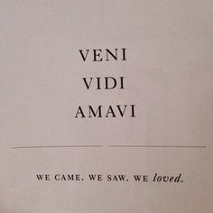 Veni, vidi, amadi. We came, we saw, we loved.
