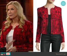 Brooke's red printed jacket on The Bold and the Beautiful.  Outfit Details: https://wornontv.net/67243/ #TheBoldandtheBeautiful
