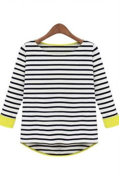 Neon Yellow Trimmed Black Striped Jersey Top Women's Basic Tee T-shirt | Goodnight Macaroon