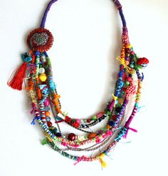 Sweet Crazy II. Fiber, beads, colorful, multi strand, bohemian, hippie necklace. Free shipping. OOAK