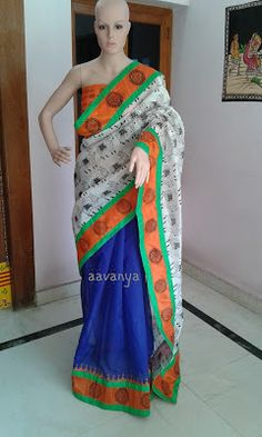 Aavanya: Royal Bluce Fancy Kotta with Buffallo Chendari Sil...