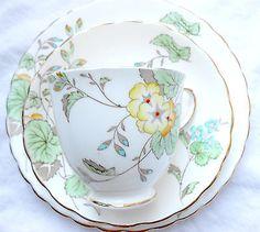 Plant Tuscan England Art Deco jewelled china tea cup saucer side plate trio vgc
