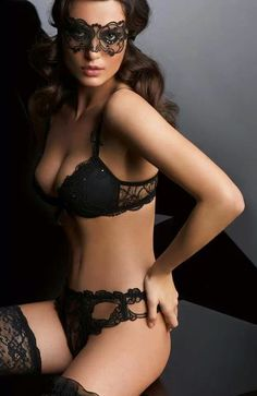 Beautiful black lingerie and holders