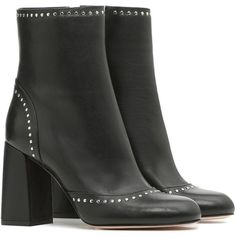 REDValentino Ankle Boot With Micro Stud Detail (39.400 RUB) ❤ liked on Polyvore featuring shoes, boots, ankle booties, black, block heel booties, black block heel booties, ankle boots, leather bootie and black leather boots