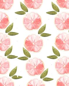 Pink Grapefruit. #pattern #illustration #fruit