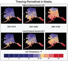 """FACT : """"thawing Alaskan permafrost, high and low emissions scenarios"""" Climate Change Report, Make A Change, Conservation, Alaska, Study, Chart, Life, Studio, Studying"""
