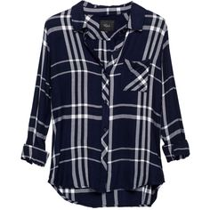 Rails Hunter Shirt - Midnight, White & Pine (725 PLN) ❤ liked on Polyvore featuring tops, shirts, blouses, flannels, blusas, checked shirt, long-sleeve shirt, long sleeve flannel shirts, white top and flannel shirts