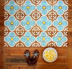 Unique floor decor ideas diy stenciled wood floor hallway ideas hardwood floor…