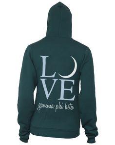 Gamma Phi Beta Love Hoody Sorority Outfits, Sorority Life, Sorority Shirts, Greek Week, Greek Life, Tri Delta, Gamma Phi Beta, Custom Greek Apparel, Pli