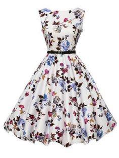 Trendy Round Collar Sleeveless Floral Print Slimming Women's Dress