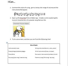 An I Can Card example for the music subject