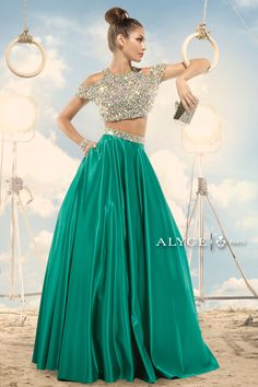 Claudine For Alyce 2474 Shimmery Beaded Gown  #CrushingOnRissyRoos #Alyce #gown #twopiece #gorgeous #skirt #green #crystal #cute #fashion #RissyRoos #style #prominspiration #prom #prom2k15 #promfashion #partydress #party #fun