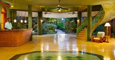 The lobby at Couples Swept Away in Jamaica