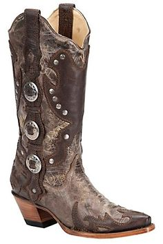 Corral Ladies Distressed Brown w/ Conchos