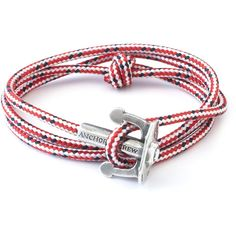 ANCHOR & CREW Red Dash Union Rope Bracelet ($150) ❤ liked on Polyvore featuring jewelry, bracelets, red, red jewelry, rope bracelet, cord bracelet and red bangles