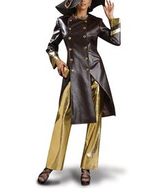 I guess there are such things as WOMEN'S PIMP SUITS?!?!?! ((((O_o)))) This Chocolate & Gold Jacket & Pants - Women & Plus by Donna Vinci is perfect! #zulilyfinds
