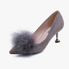 Grey Pointed Fur Décor Heeled Pumps