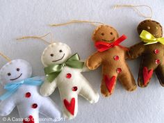 felt gingerbread men Christmas ornaments