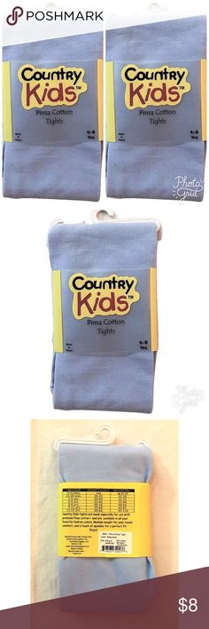 2 Pair Girl's Pima Cotton Tights Two Pair NEW Country Kids Girl's Pima Cotton Tights Baby Blue Color 6-8 Years (48-60 LBS)   53% Cotton, 36% Nylon, 11% Spandex   Thank you so much! Country Kids Accessories Hosiery & Socks