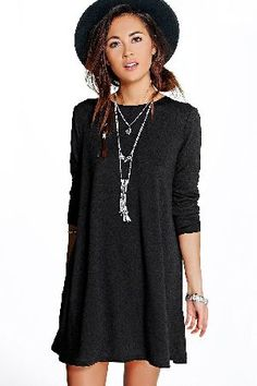 #boohoo Knitted Swing Dress - black DZZ73021 #Nail new season knitwear in the jumpers and cardigans that are cosy yet coolGo back to nature with your knits this season and add animal motifs to your must-haves. When youre not wrapping up in woodland warmersandcomma; nod to chunky Nordic knits and polo neck jumpers in peppered marl for your laidback layering pieces. Bejewelled basics and standout sequin sweaters transform your knitwear for nights out.
