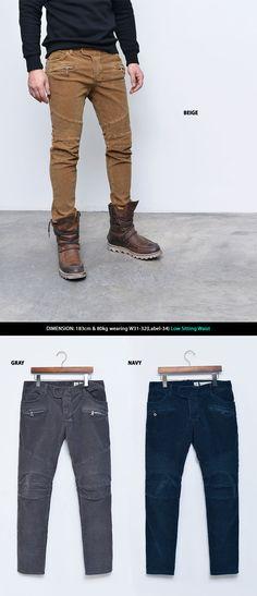 Mens Limited Low Sit Corduroy Slim Biker Pants By Guylook.com