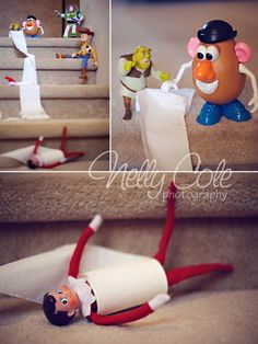 Toys roll elf downstairs in toilet paper :)