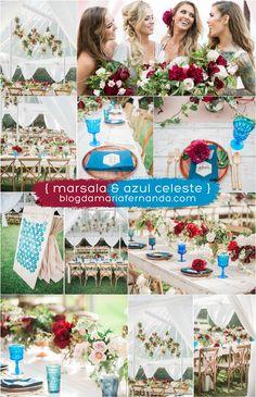 Decoração de Casamento : Paleta de Cores Marsala e Azul Celeste | Blog de Casamento DIY da Maria Fernanda